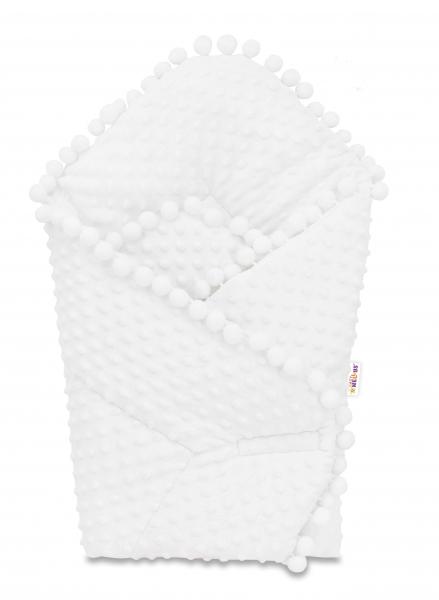Novorodenecká minky zavinovačka s brmbolcami, 75x75cm, minky - biela