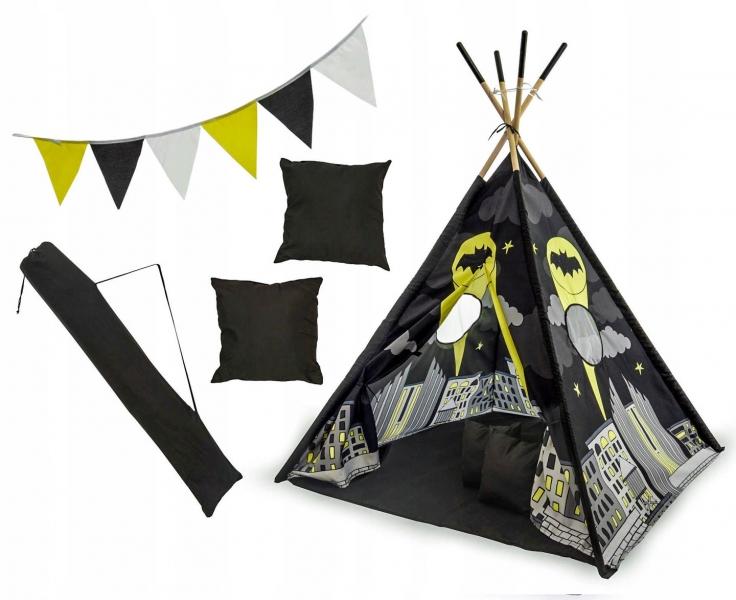 Kids Stan pre deti teepee, típí s výbavou - Batman, 120x120x180 cm, čierny