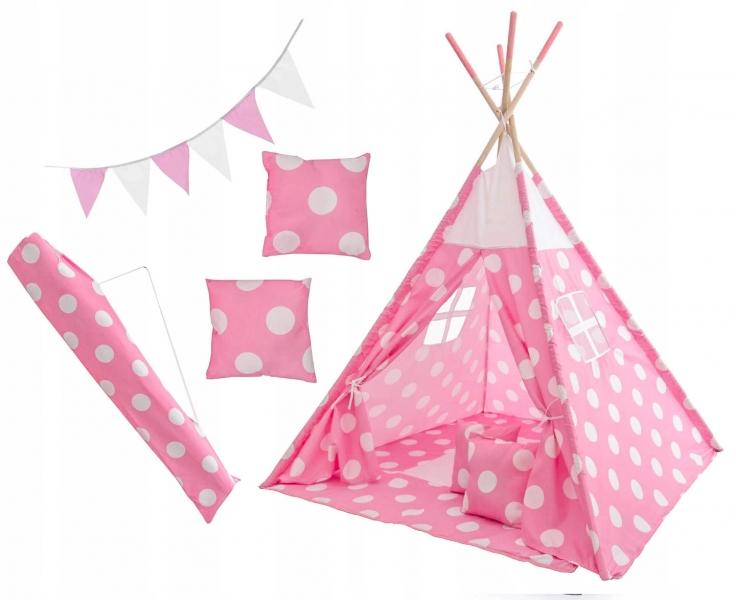Kids Stan pre deti teepee, típí s výbavou - Bodky, 120x120x180 cm, růžovo/biely