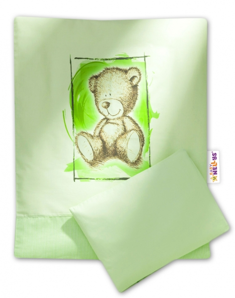 Baby Nellys 2-dielne obliečky do kočíka komplet Sweet Dreams by Teddy - zelene
