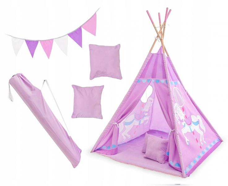 Kids Stan pre deti teepee, típí s výbavou - Kolotoč, 120x120x180 cm, fialový
