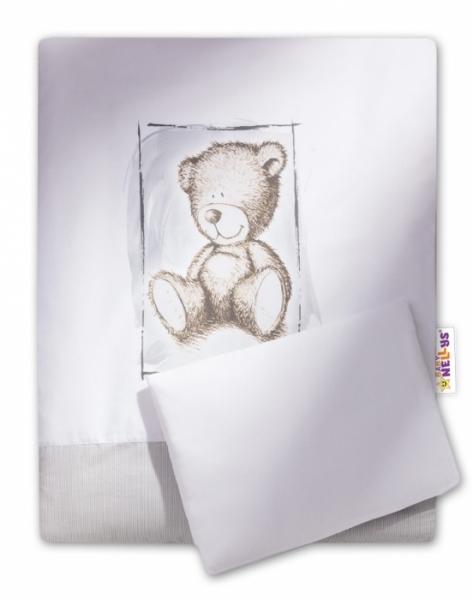 Baby Nellys 2-dielne obliečky do kočíka komplet Sweet Dreams by Teddy - sivé