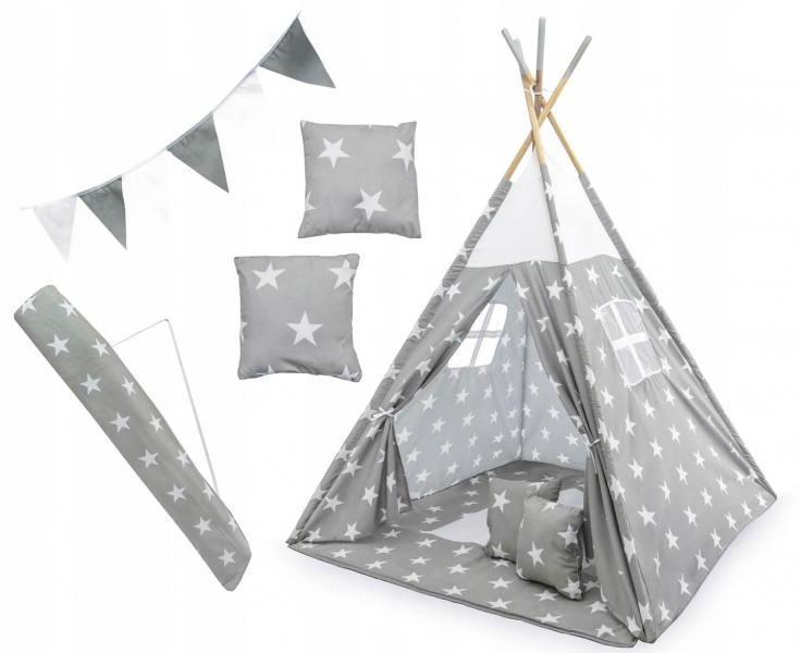 Kids Stan pre deti teepee, típí s výbavou - Hviezdy, 120x120x180 cm, sivo/biely