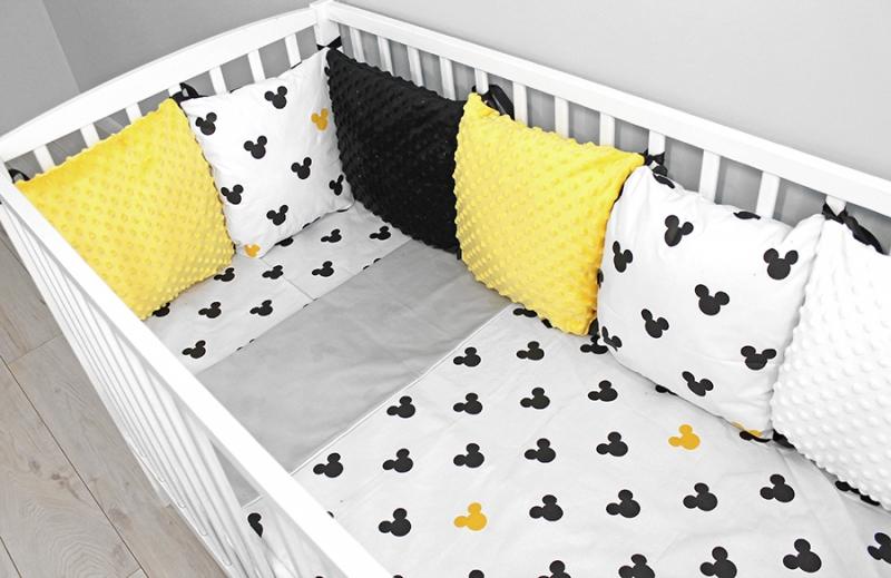 Baby Nellys Vankúšikový mantinel Minky s obliečkami - Mickey, žlutá