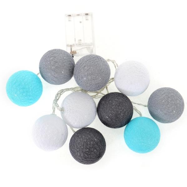 Cotton Balls - svietiace gule, tm. sivá / sivá / biela / mätová, 10ks
