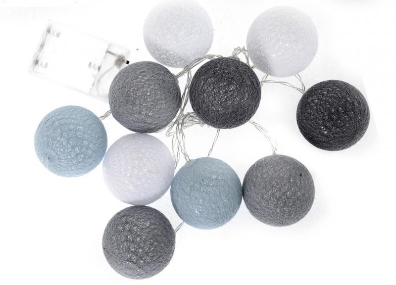 Cotton Balls - svietiace gule, tm. sivá / sivá / biela /sv. sivá, 10ks