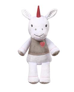 BabyOno Plyšová hračka s hrkálkou Jednorožec, 60 cm - biely