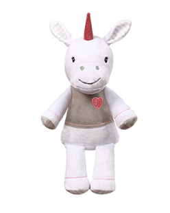 BabyOno Plyšová hračka s hrkálkou Jednorožec, 30 cm - biely