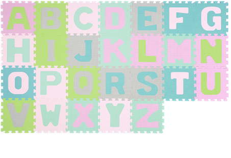 BabyOno Penové puzzle Abeceda, 26 ks - pastelové