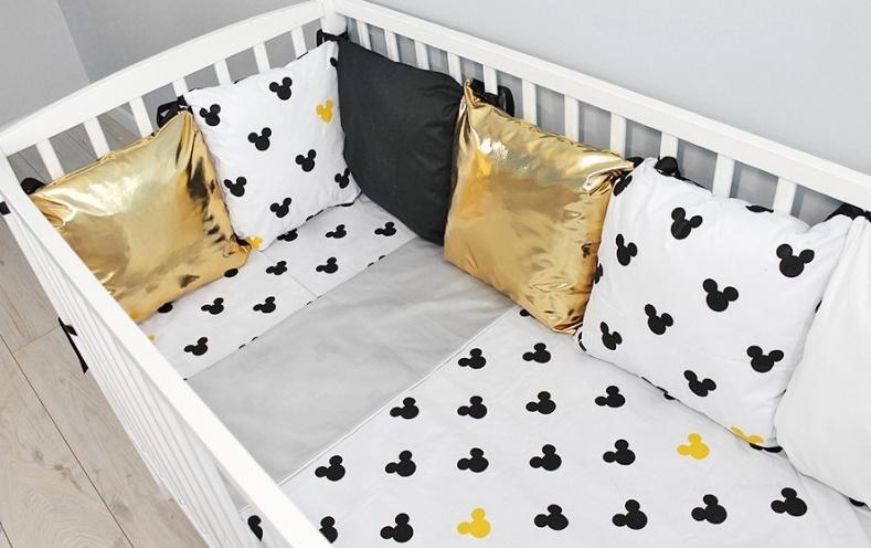 Baby Nellys Vankúšikový mantinel s obliečkami shine, 135x100  - Mickey, žlutá, B19