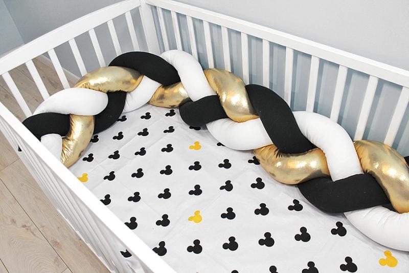 Mantinel pletený vrkoč shine s obliečkami Mickey - biela, zlatá, čierna, 135x100 cm