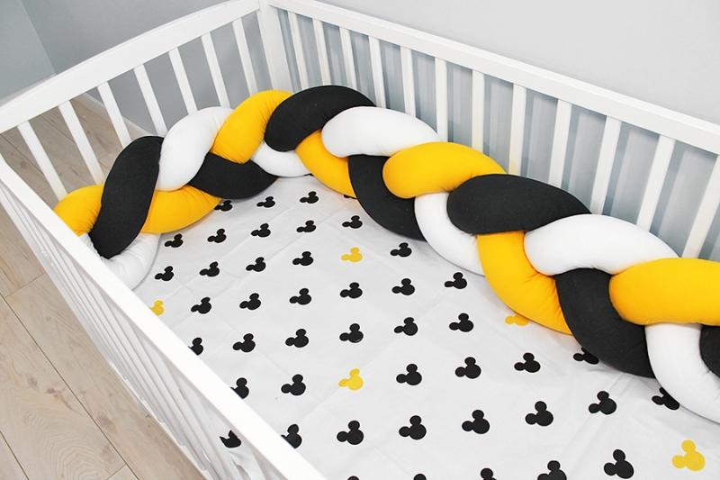 Baby Nellys Mantinel pletený vrkoč s obliečkami Mickey - biela, žltá, čierna, B19