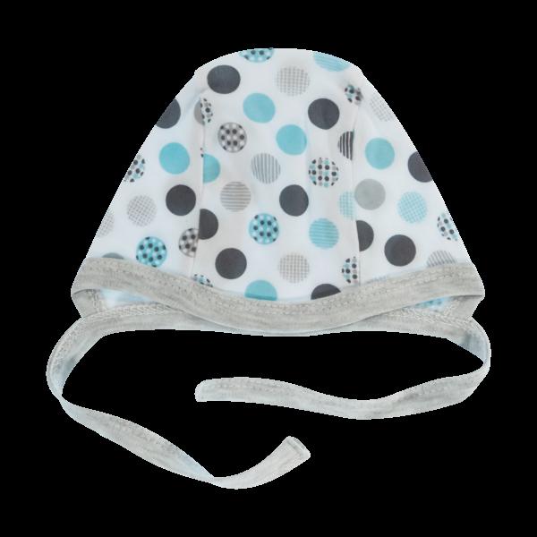 Mamatti Novorodenecká čiapočka Bubble Boo, sivá/tyrkys-56 (1-2m)