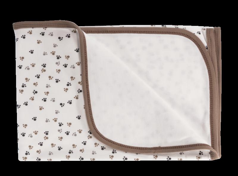Detská deka, dečka Labka, 80x90 - bavlna, biela/hnedá