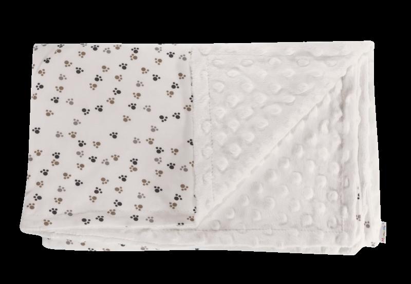 Detská deka, dečka Labka 75x90 - Minky/bavlna, biela