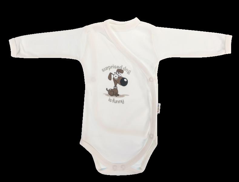 Body Labka - dlhý rukáv - zapínanie bokom - biele/psík-56 (1-2m)