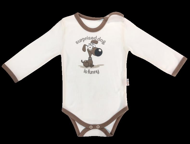 Dojčenské body Labka - dlhý rukáv, biele/psík-68 (4-6m)