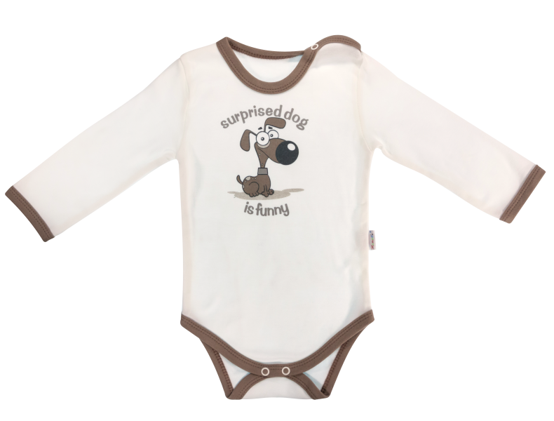 Dojčenské body Labka - dlhý rukáv, biele/psík, veľ. 80-80 (9-12m)