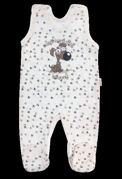Dojčenské bavlnené dupačky Labka, biela-56 (1-2m)