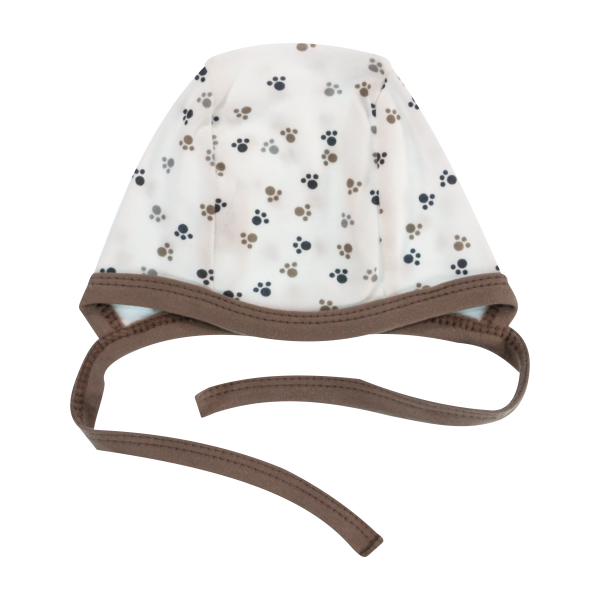 Novorodenecká čiapočka Labka, biela/hnedá-56 (1-2m)