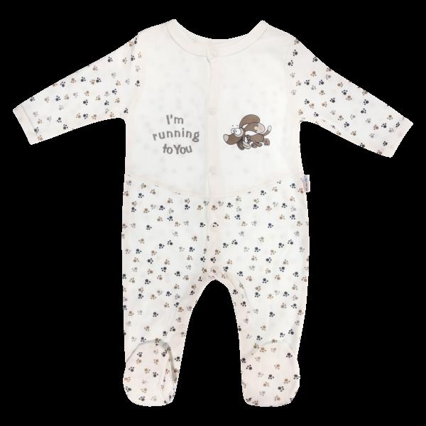Dojčenský bavlnený overal Tlapka, biela-56 (1-2m)