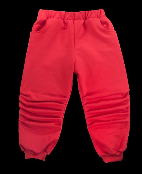 Detské bavlnené tepláčky s vreckami Labka - červené, veľ. 104
