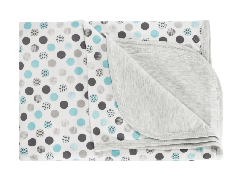 Detská deka, dečka Bubble boo, 80x90 - bavlna, tyrkys/sivá