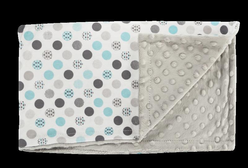 Detská deka, dečka Bubble Boo, 75x90 - Minky/bavlna, tyrkys/sivá, minky - sivá