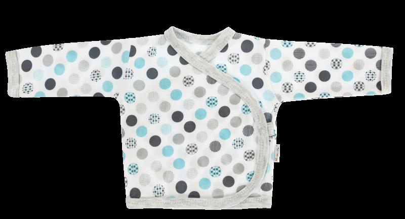 Mamatti Novorodenecká košieľka Bubble Boo - zapínanie bokom, tyrkys/sivá-56 (1-2m)