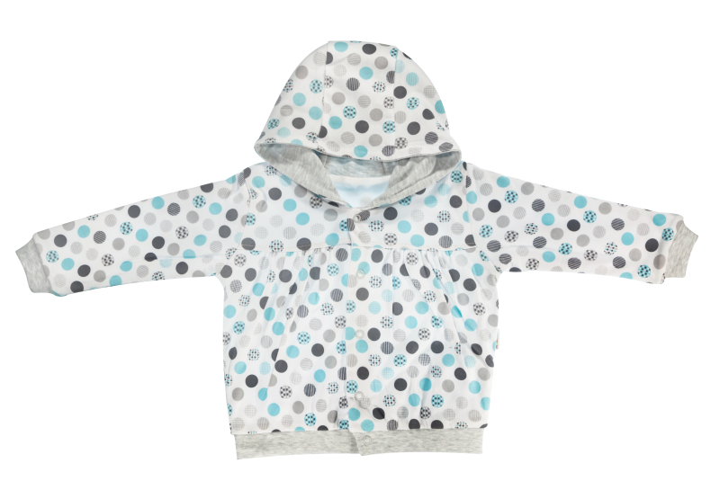 Mikinka Bubble Boo - zapínanie uprostred, tyrkys/sivá, veľ. 68-68 (4-6m)