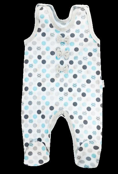 Mamatti Dojčenské bavlnené dupačky Bubble Boo, sivá/tyrkys, veľ. 62-62 (2-3m)