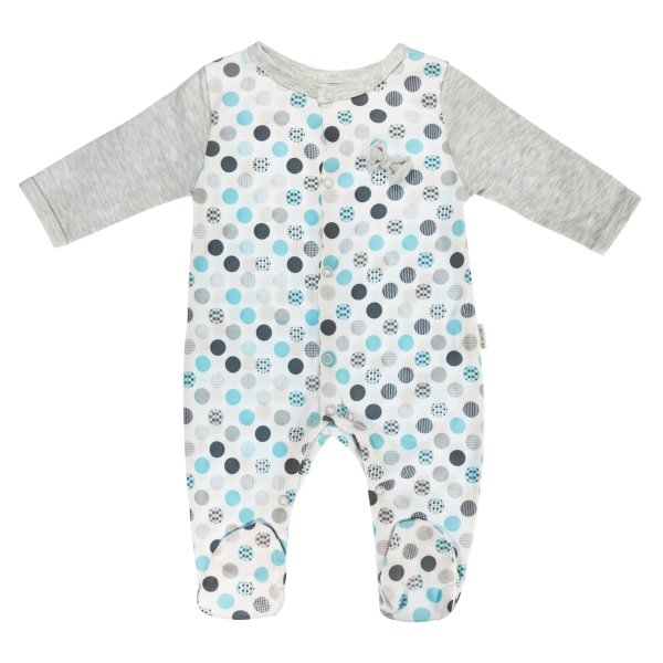 Dojčenský bavlnený overal Bubble Boo, sivá/tyrkys, veľ. 62-62 (2-3m)