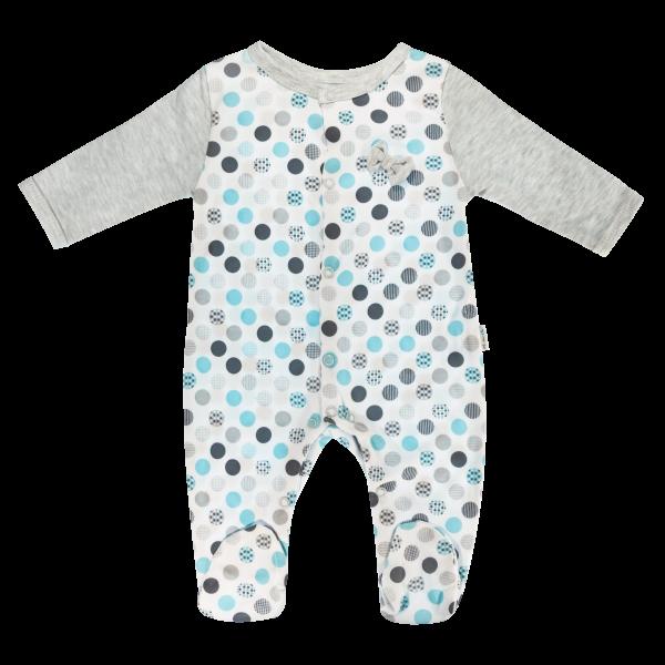 Dojčenský bavlnený overal Bubble Boo, sivá/tyrkys, veľ. 74