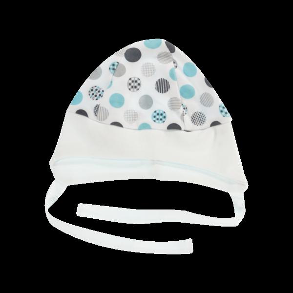 Čiapočka na zaväzovanie Bubble Boo, tyrkys/biely lem-56 (1-2m)