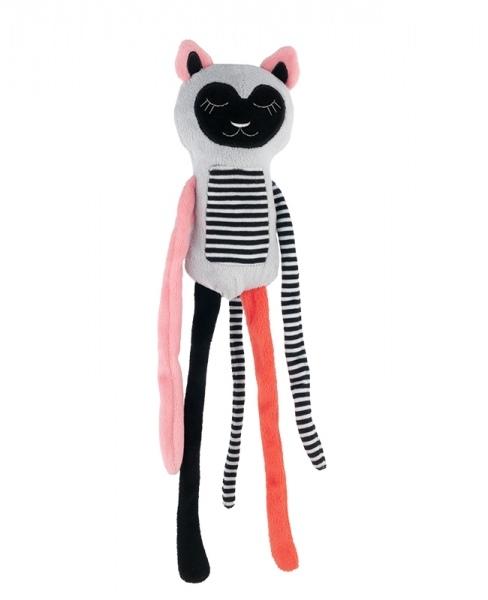Plyšová hračka s rolničkou Spiace lemur - korál