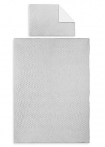 2-dielna sada, poťah na vankúšik a deka Velvet lux mimino, prešívané - šedý-120x90