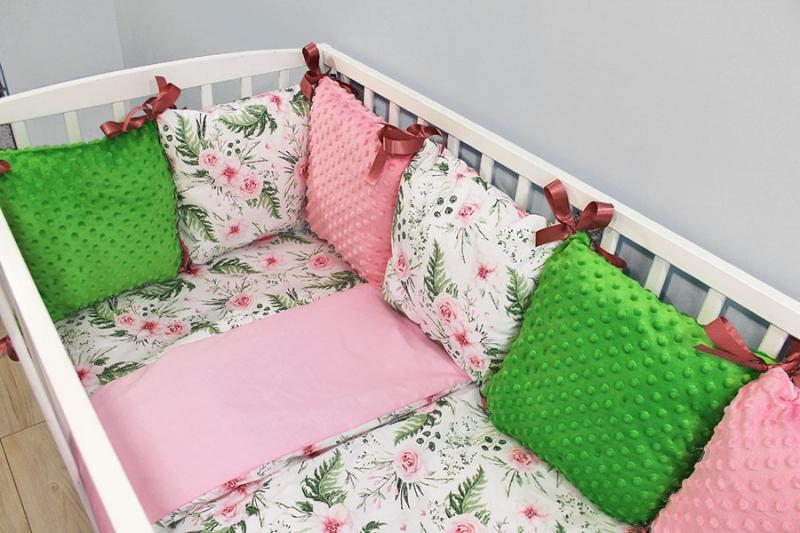 Vankúšikový mantinel Minky s obliečkami, 135x100 - Kvetinky, růžová/zelená