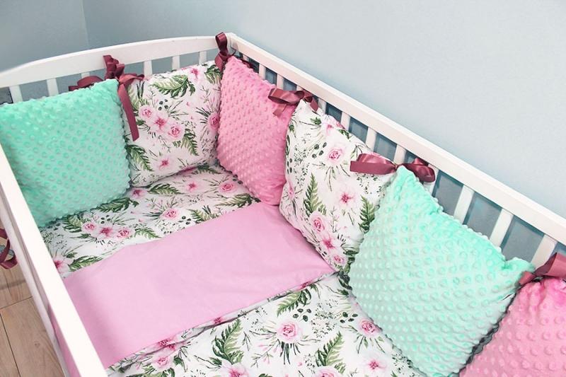 Vankúšikový mantinel Minky s obliečkami, 135x100 - Kvetinky, růžová/tyrkys, B19