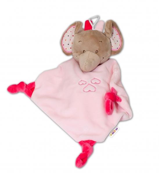 Tulilo Přítulníček s hrkálkou Slon - ružový, K19