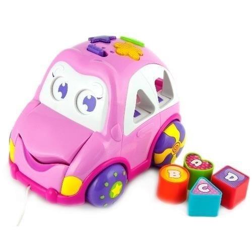 Detská hračka, vkladačka Veselé autíčko - ružové