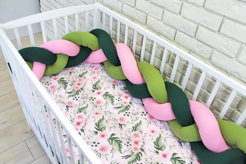 Mantinel pletený vrkoč s obliečkami Kvetinky - zelená, ružová, 135x100 cm