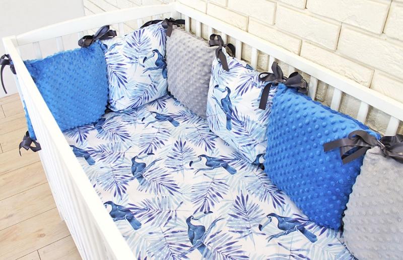 Vankúšikový mantinel Minky s obliečkami Tukan - modrá, biela, 135x100 cm