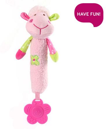 Plyšová hračka s pískátkem a hryzátkom Sweet Lambie - ružová