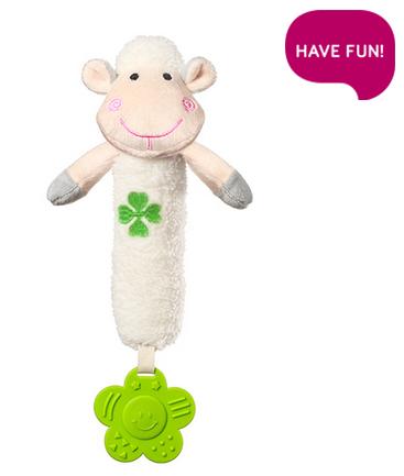 Plyšová hračka s pískátkem a hryzátkom Sweet Lambie - biela
