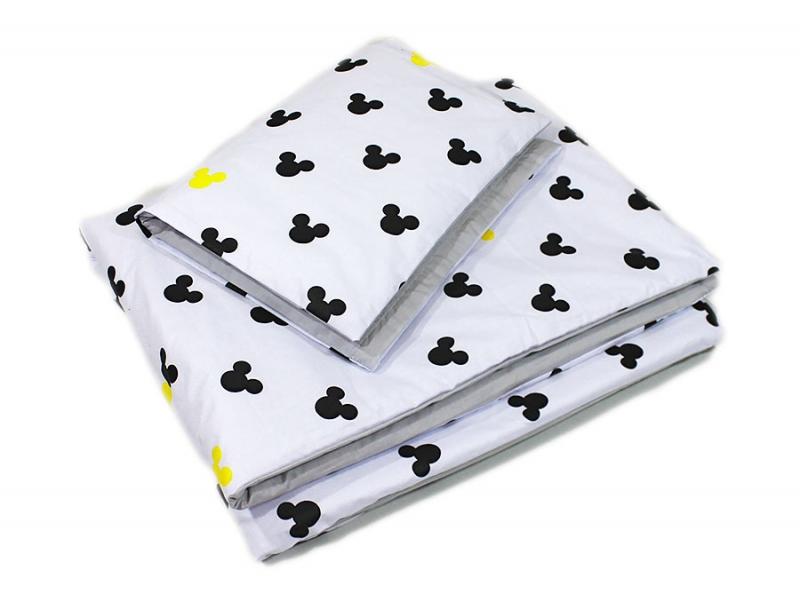 Baby Nellys 2-dielne obliečky Mickey, bavlnené - sivá, žltá, B19