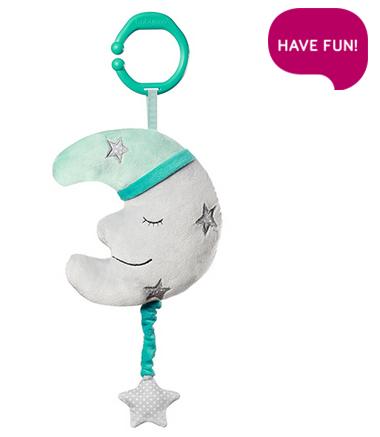 BabyOno Závesná plyšová hračka s melódiou - Happy Moon