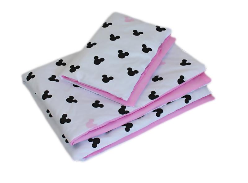 Baby Nellys 2-dielne obliečky 135x100, Mickey, bavlnené - ružová, čierna, B19-135x100