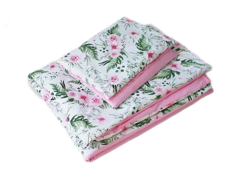 Baby Nellys 2-dielne obliečky 135x100,Květinky, bavlnené - ružová, biela s potlačou