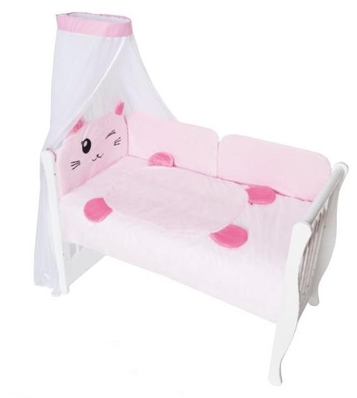 Baby Nellys Mantinel s obliečkami a nebesami Animal, 120x90 - Mačička ružová