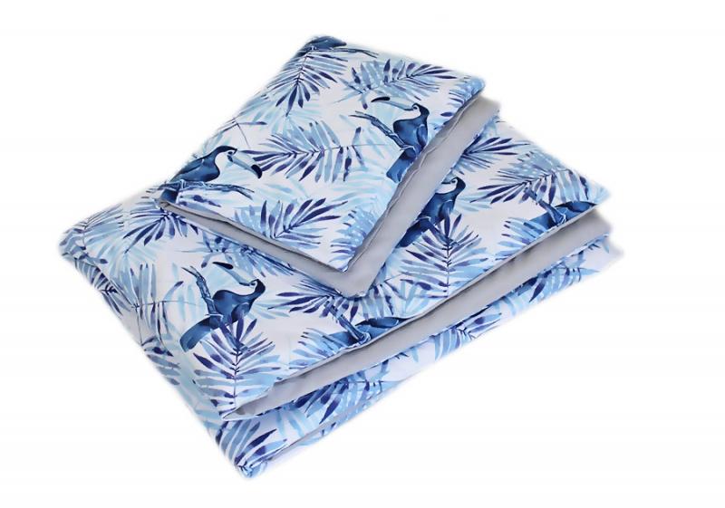 Baby Nellys 2-dielne obliečky 135x100, Tukan, bavlnené - sivá, modrá, B19-135x100